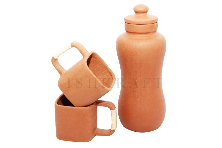 Clay Cup and Bottle