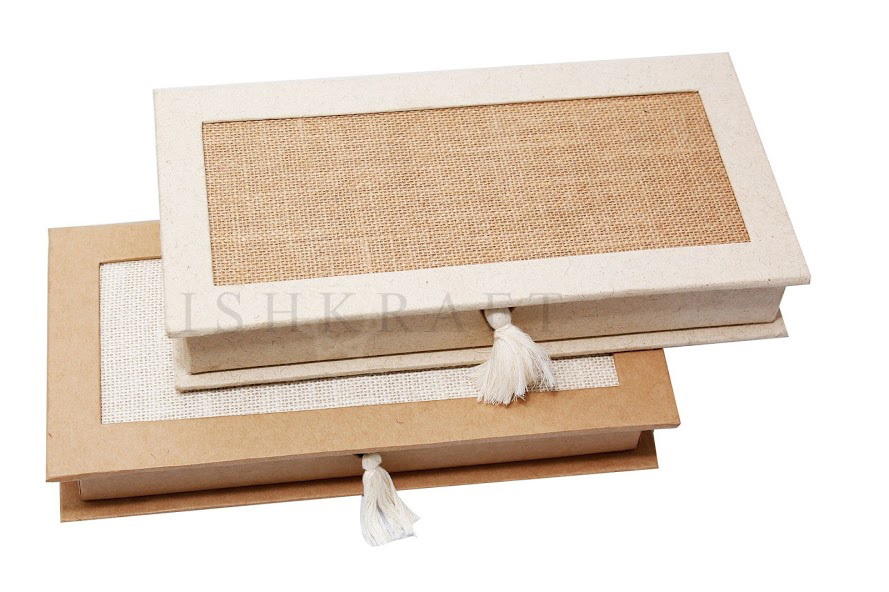 Jute Covered Stationery Box
