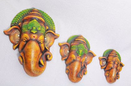 Antique Finish Terracotta Ganesha Wall-Hangings