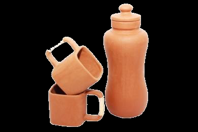 Clay Cups and Bottle